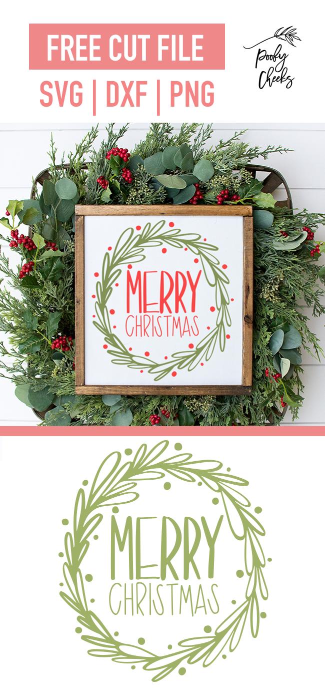 Frohe Weihnachten Kranz geschnitten Datei – Silhouette und Cricut Free Datei –   – Poofy Cheeks Blog