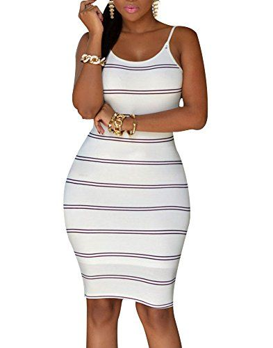 Cfanny Women's Spaghetti Strap Stripes Open Back Bodycon Dress *** Find out more about the great item at the image link.
