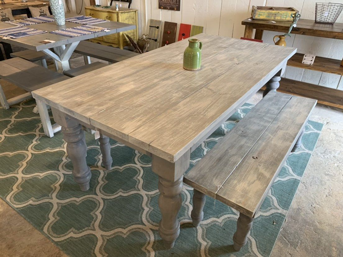 Rustic Farmhouse Table Set With Turned Chunky Legs Includes Etsy