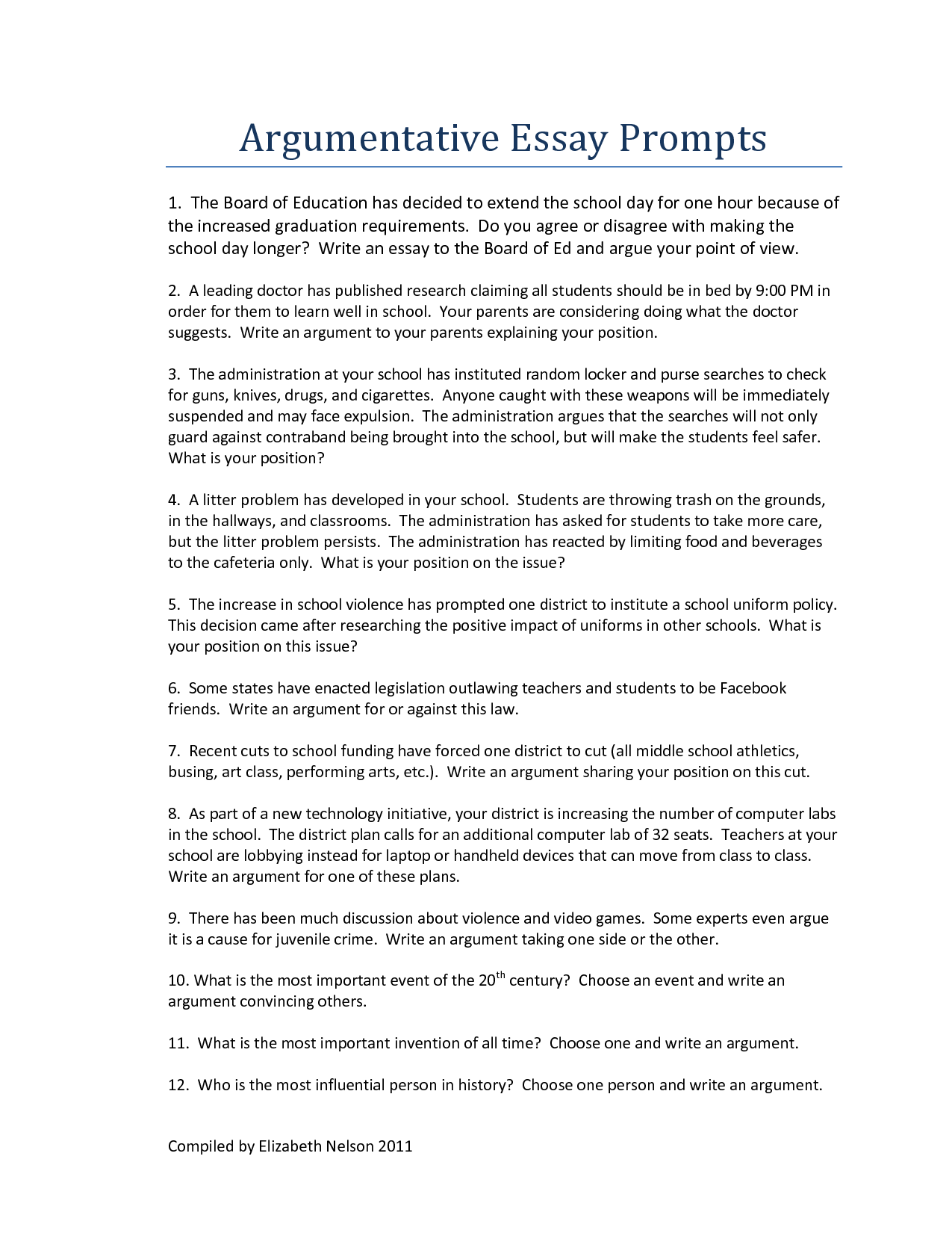arguments for essay topics Common core writing arguments/persuasives topics for educators #argument # essay #education #resources #topics | see more ideas about argumentative.
