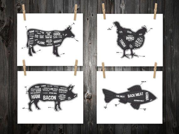 4 Butcher Diagram Prints, Cow, Pig, Fish, Chicken, Kitchen Print