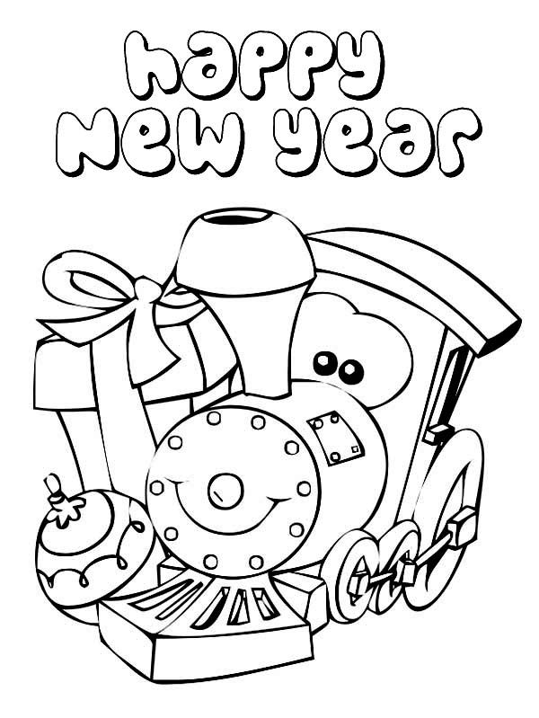 A Cute Little Train Says Happy New Year Coloring Page Free New Year Coloring Pages Train Coloring Pages Coloring Pages