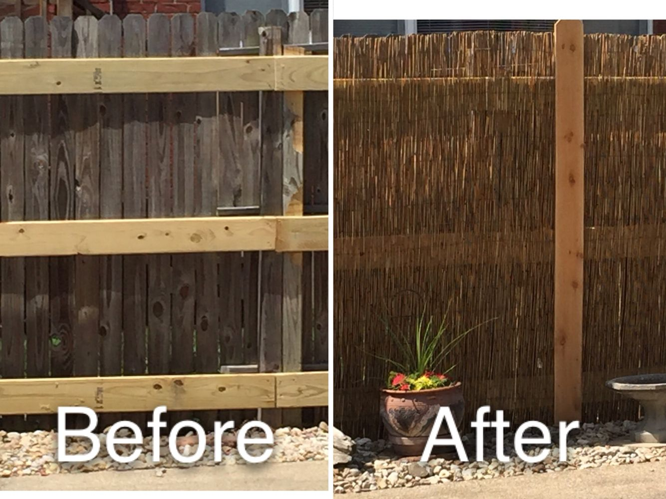 ugly fence hide it with bamboo and cedar planks