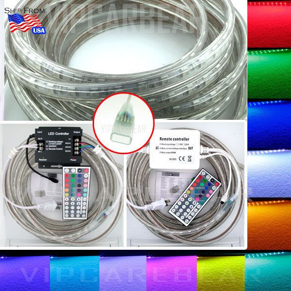 3ft 100ft 110v High Voltage 5050 Smd Rgb Led Strip Rope Light 60 M Ip68 Remote Remote Rope Light Rgb Led