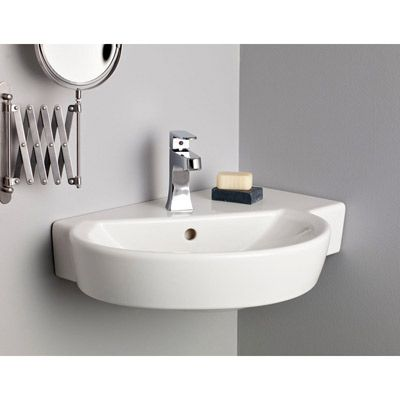 Pin By Linda Apps On Bathroom In 2020 Wall Mounted Sink Wall Mounted Bathroom Sinks Corner Sink Bathroom