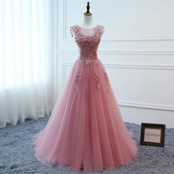 646cd813d5b Elegant Pink Ball Gown Tulle Women Formal Evening Prom Dress Long Floral  Bridal Beach Gown Lace Wedding Party Dress with Train Plus Size
