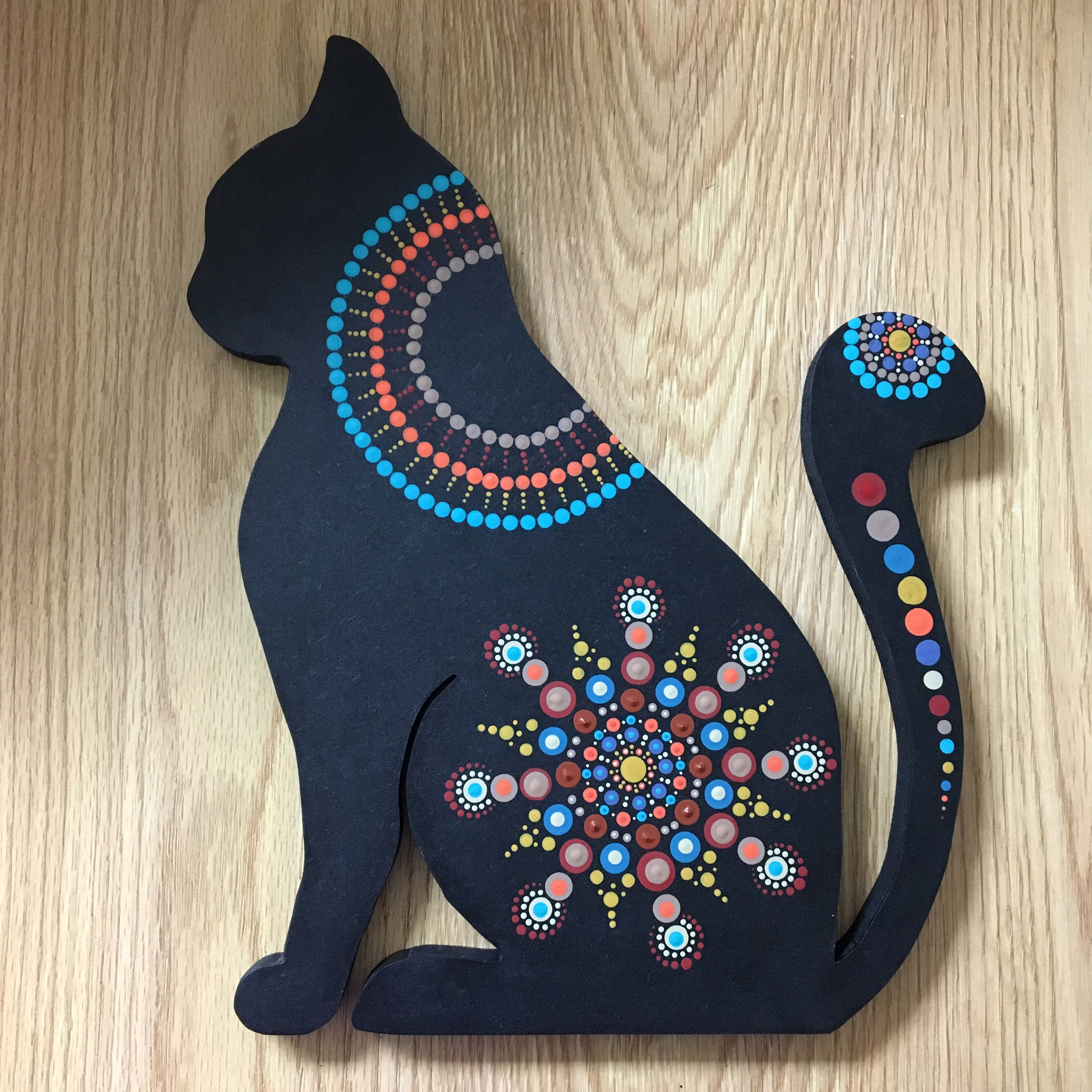 Wood Cat Mandala Rock Painting Pinterest Mandala And Rock  # Muebles Sirena Animal Crossing
