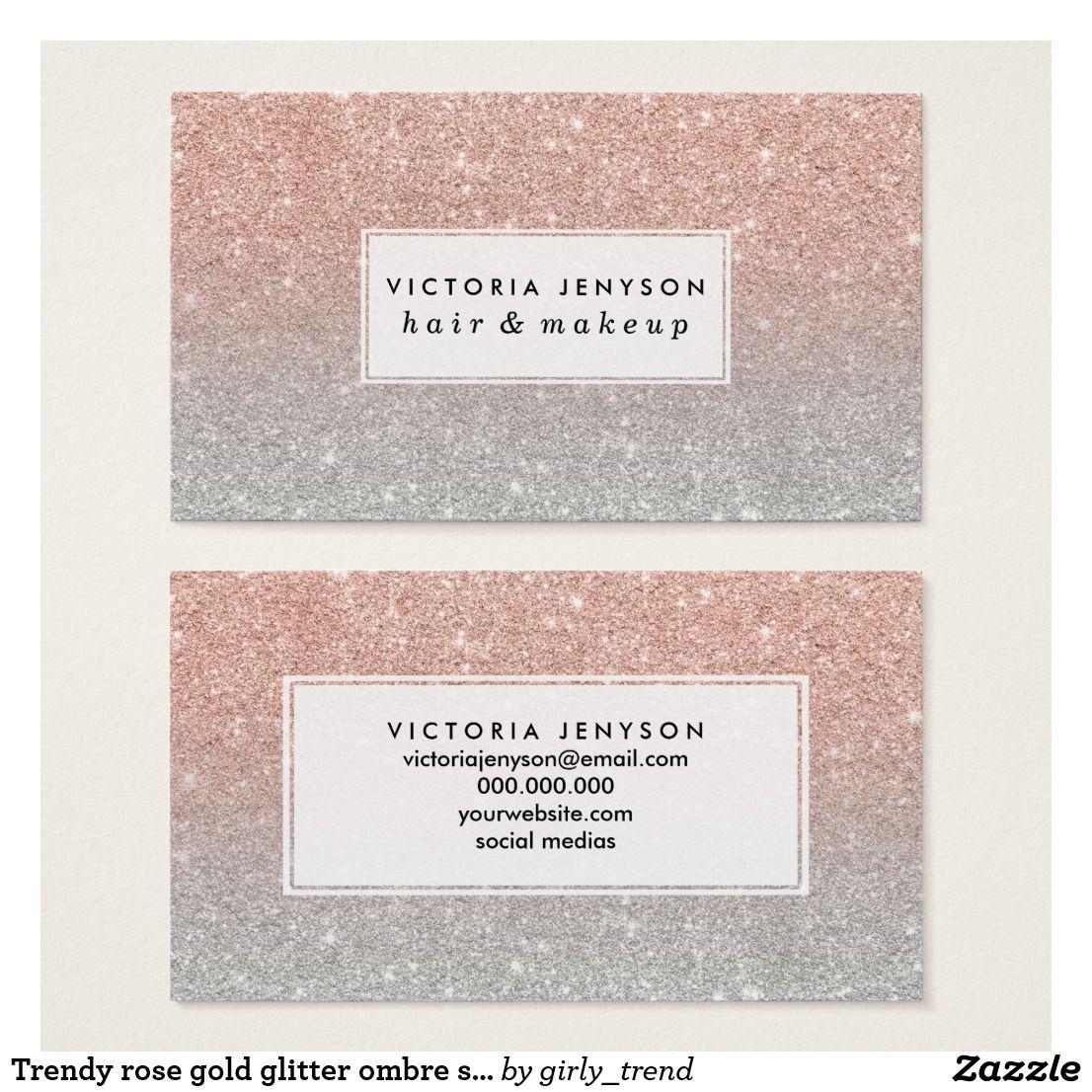 Trendy rose gold glitter ombre silver glitter business card trendy rose gold glitter ombre silver glitter business card colourmoves