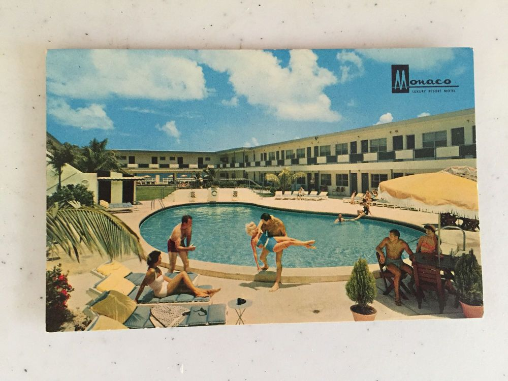 Vintage Monaco Hotel Postcard Luxury Resort Motel Miami Beach Florida 1960s