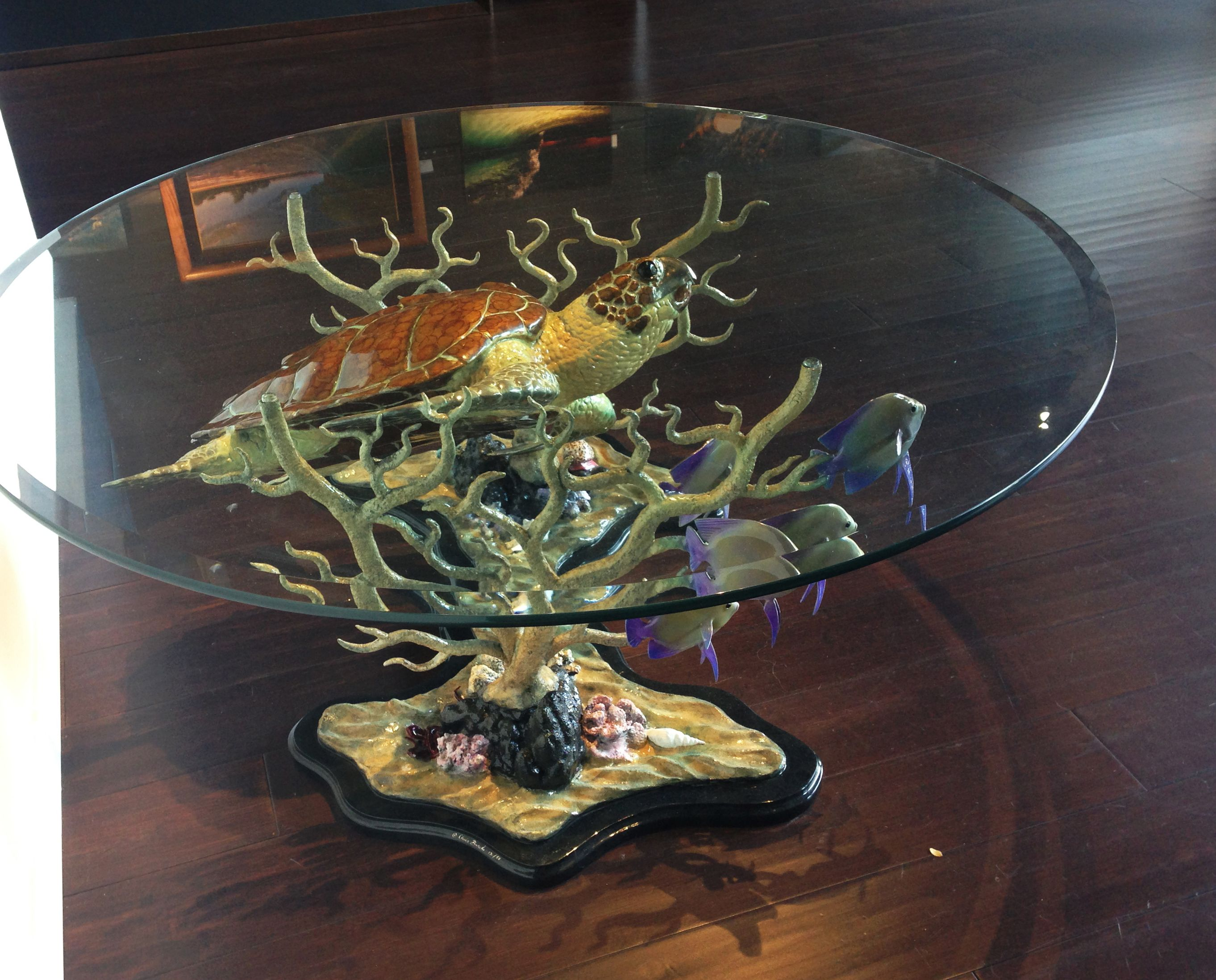 "Bronze Sea Turtle Coffee Table Coral and Reef 36""x 48""x 18"" high"