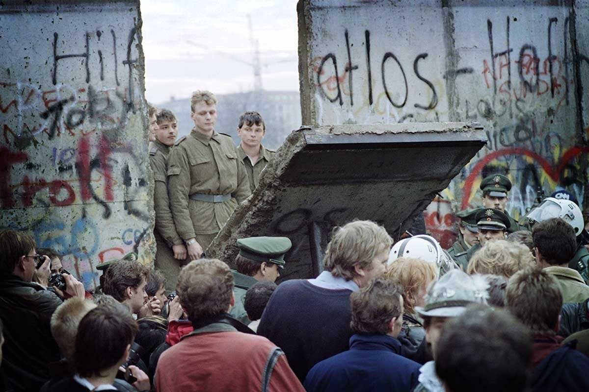 Berlin Wall Coming Down 1989