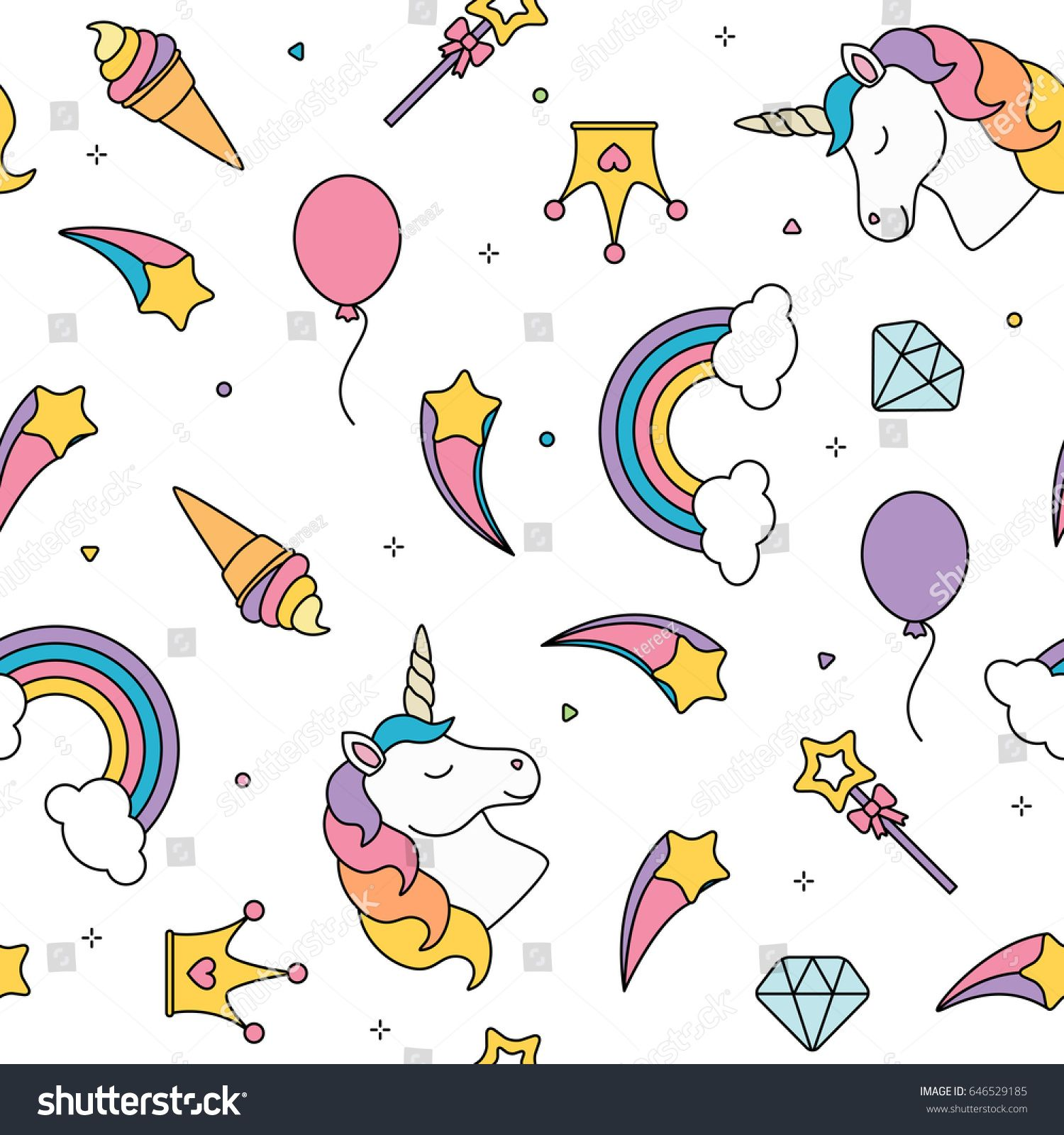 Unicorn And Rainbow Seamless Pattern Isolated On White Background