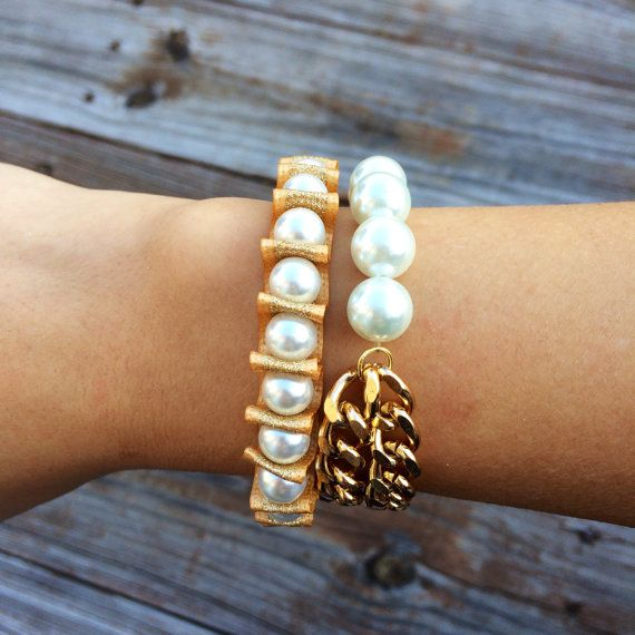 The Double Gold Chain Pearl Bracelet by PearlItUp on Etsy, $22.00