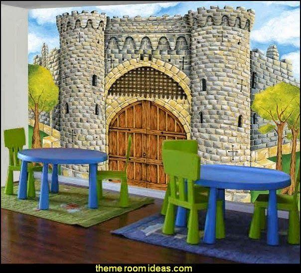 medieval castle full wall size mural photo - Blue Castle Decor
