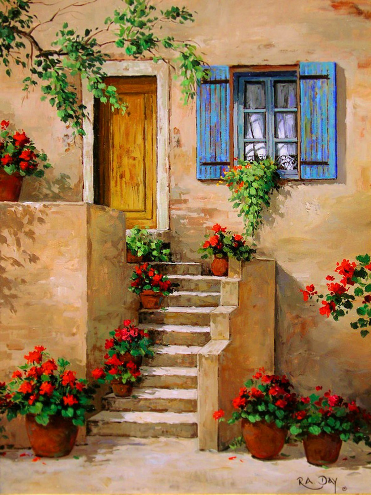 Pin by khaled alabbade on art for Oil paintings of houses