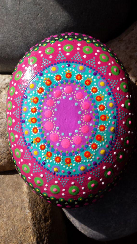 hand painted mandala painted stone zen by RockYourWorld7 on Etsy