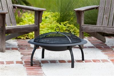 """29"""" Folding Fire Pit.  Our folding fire pit features a 29"""" heat resistant painted steel fire bowl and folding legs for easy portability. This fire pit comes complete with heat resistant mesh fire screen, a wood grate and cooking grate. Also included is a carrying bag and screen lift tool. #firepit #portable #firepitbowl #firebowl"""