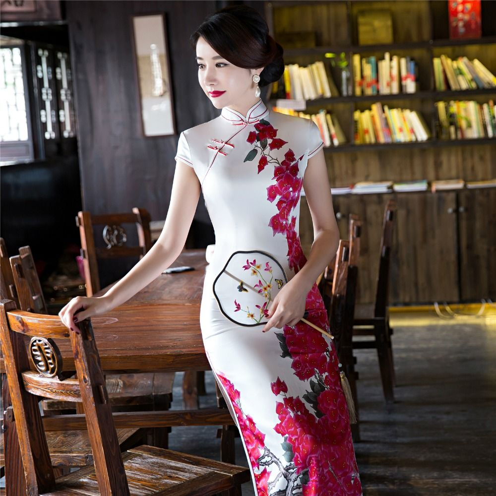 ec7d005e343c5d 10 set partij 2018 korte mouw lange jurk Qipao Zijde Chinese Jurk chinese  stijl elegante