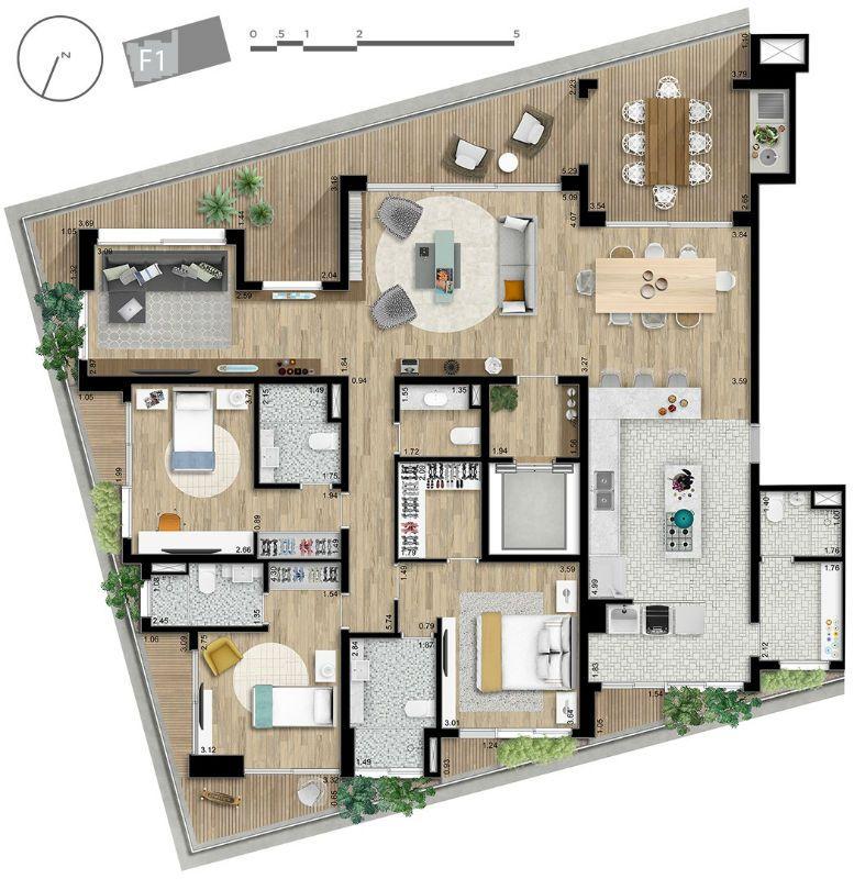 Planta - Apartamento 220 metros quadrados