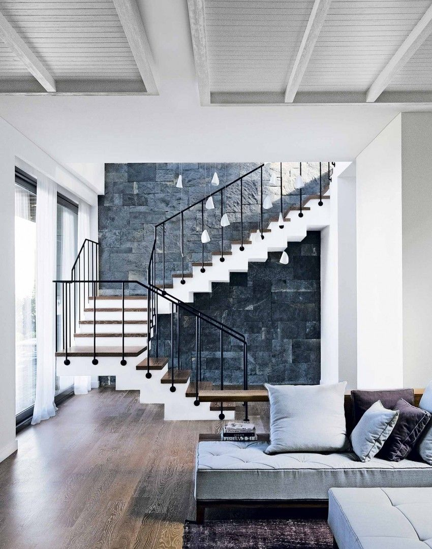 Open Plan Living Room With Floating Staircase The Room Edit Stairs Design Interior Open Plan Living Room Stairs Design
