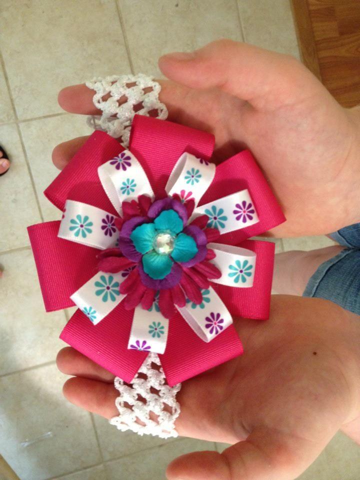 Crochet headband with ribbon bowcreated by ldm