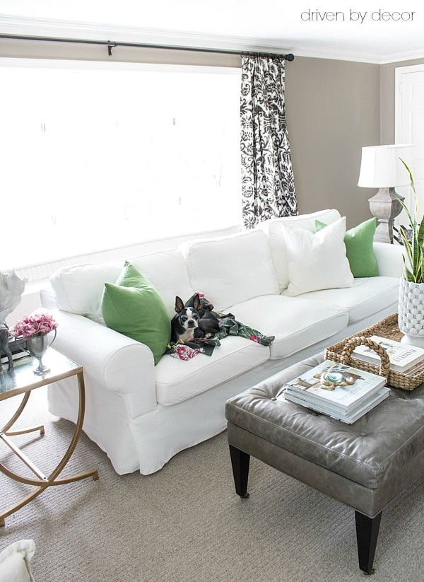 white slipcovered sofa living room brown and red decor the best inexpensive sofas media consoles coffee tables ikea ektorp