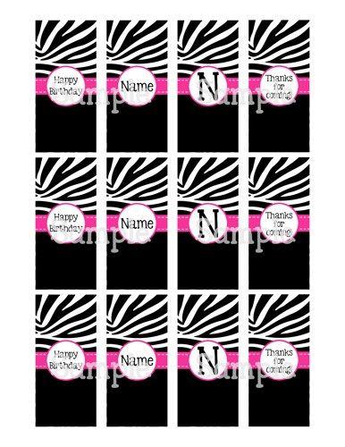 Printable Zebra, Black w/ Pink Mini Hersheys Candy Bar Wrappers ...