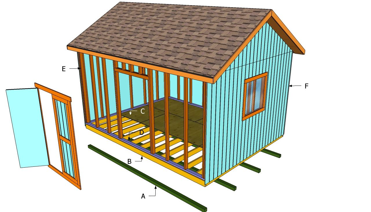 How To Build A 12x16 Shed Howtospecialist How To Build Step By Step Diy Plans Wood Shed Plans Diy Shed Building A Shed
