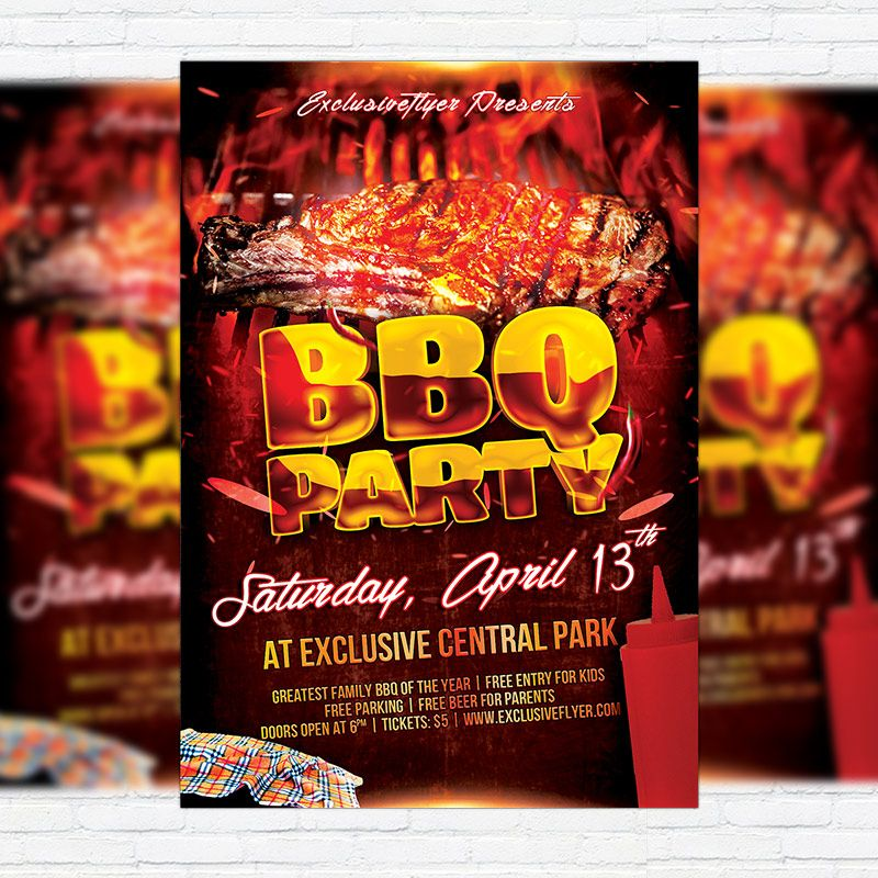 Bbq party premium flyer template facebook by exclusiveflyer on deviantart flyers i like for Barbeque flyer template