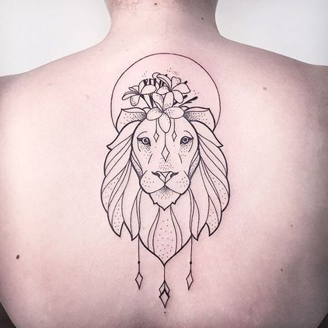 Lion Tattoo Flower Crown Lion Tattoo Tattoos Back Tattoo