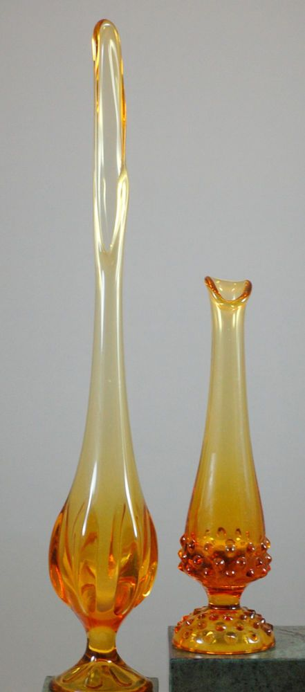 Two Vintage Hand Blown Yellow Amber Art Glass Bud Vases Viking Glass Bud Vases Colored Glassware