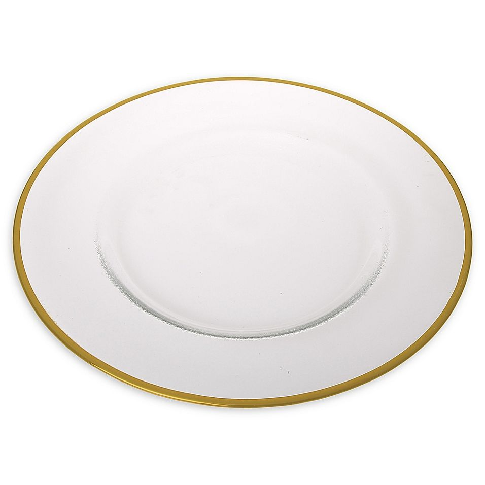 Classic Touch Trophy Simple Charger Plates In Gold Set Of 4 Clear Charger Plates Gold Set Plates