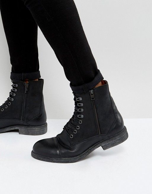 Selected Homme Trevor Leather Tall Lace Up Boots In Black