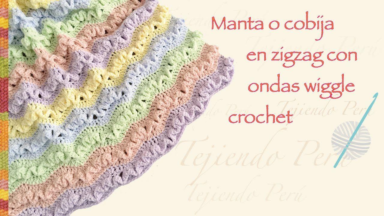 Cobija zig zag con ondas wiggle tejida a crochet en varios tamaños/ Engl...