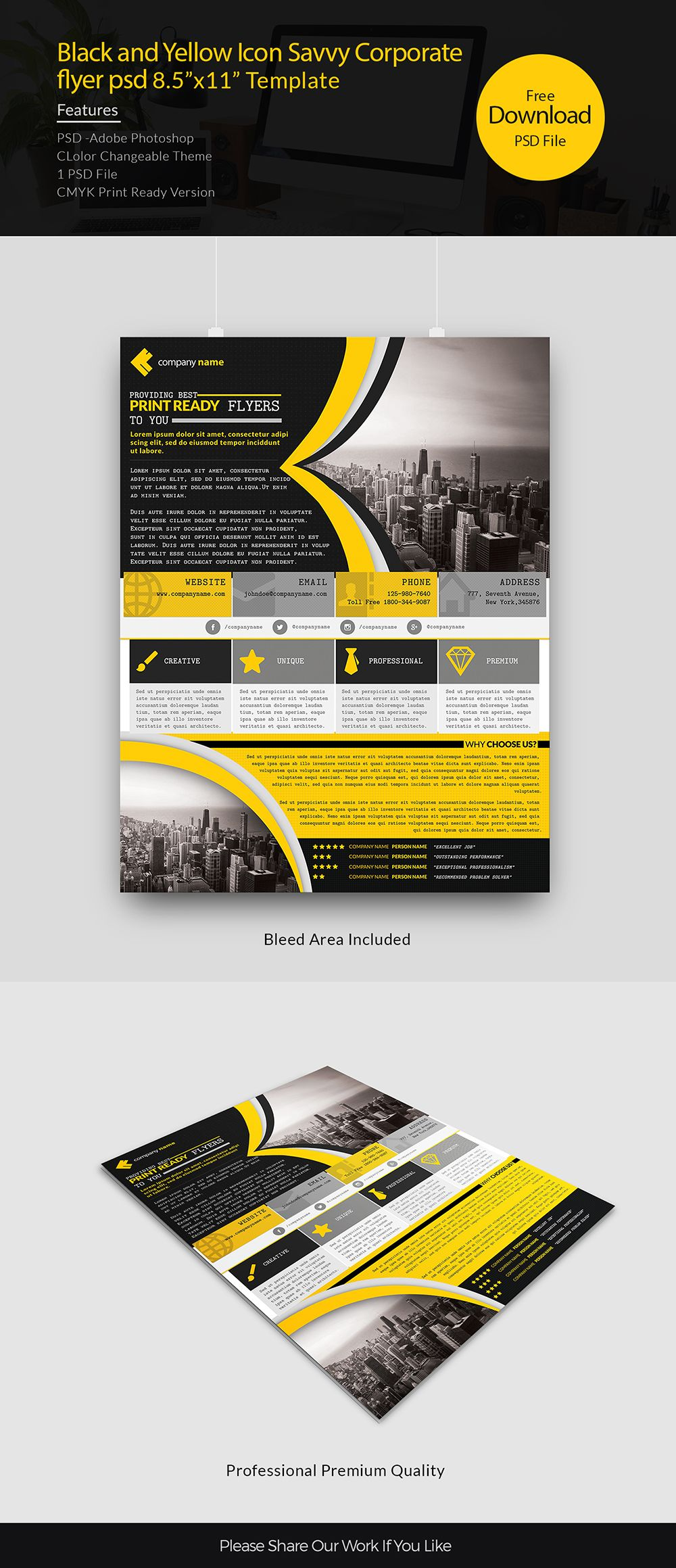 black and Yellow Icon Savvy Corporate flyer psd free download ...