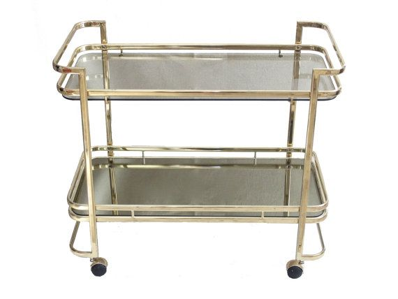 Vintage Gold Br Smoked Gl Rolling Bar Cart Mid By Pickedhome