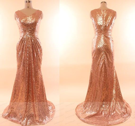 b3c8a0f55c9 Rose Gold Sequin Prom Dress Long