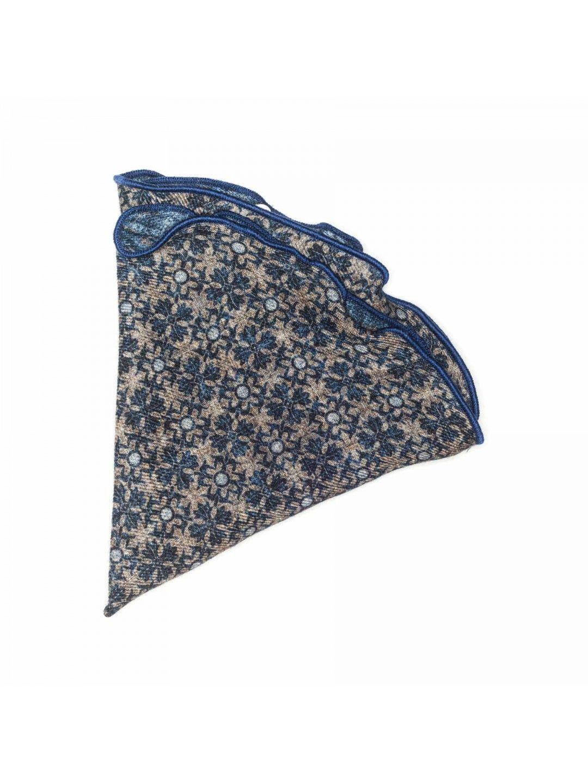 Beige/denim foral/dots 100% wool reversible Edward Armah pocket circle. Made in USA.