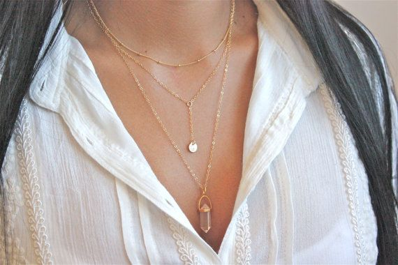 Layered Necklace - Personalized Disc Necklace - Dainty Beaded Satellite Chain - Crystal Quartz Necklace - 14k gold filled