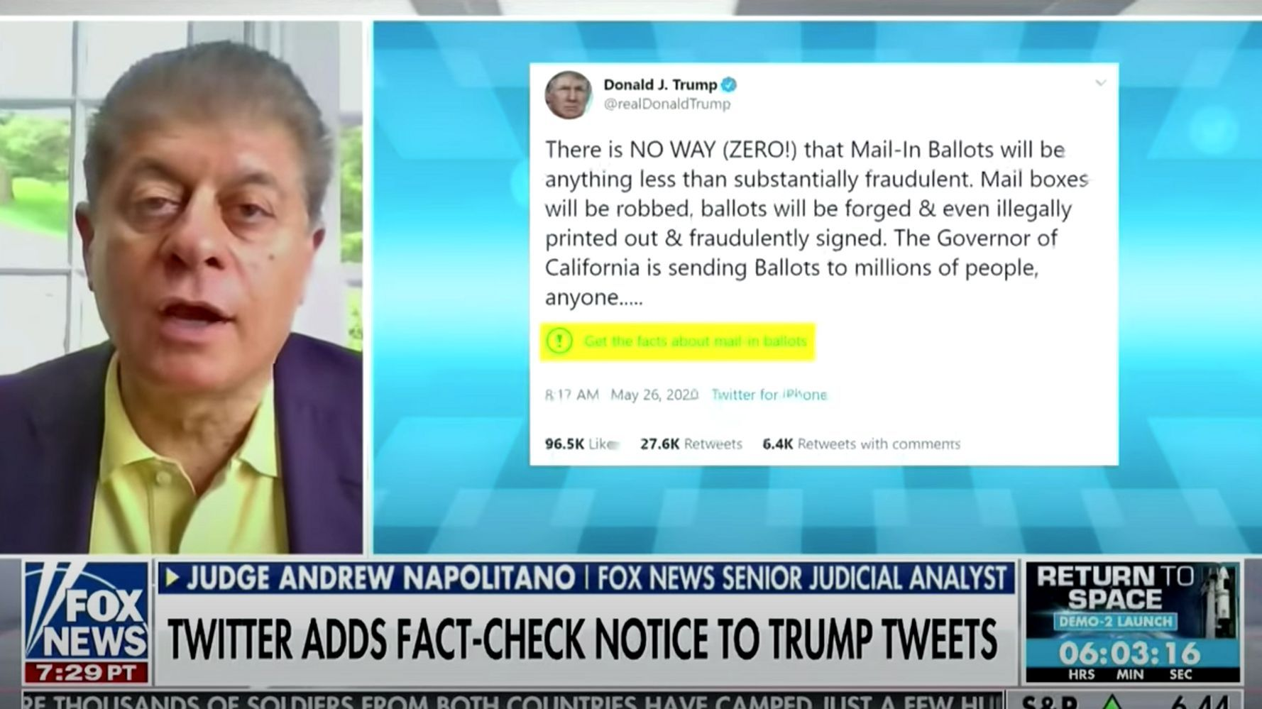 Fox News Andrew Napolitano Backs Twitter S Right To Fact Check Trump Huffpost In 2020 Fact Checking Andrew Napolitano Fox News Trump