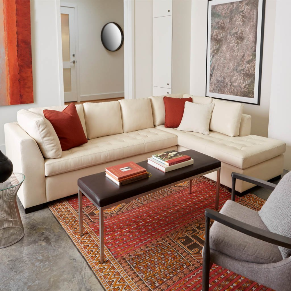 astoria leather three seat sofa | sectional sofa with