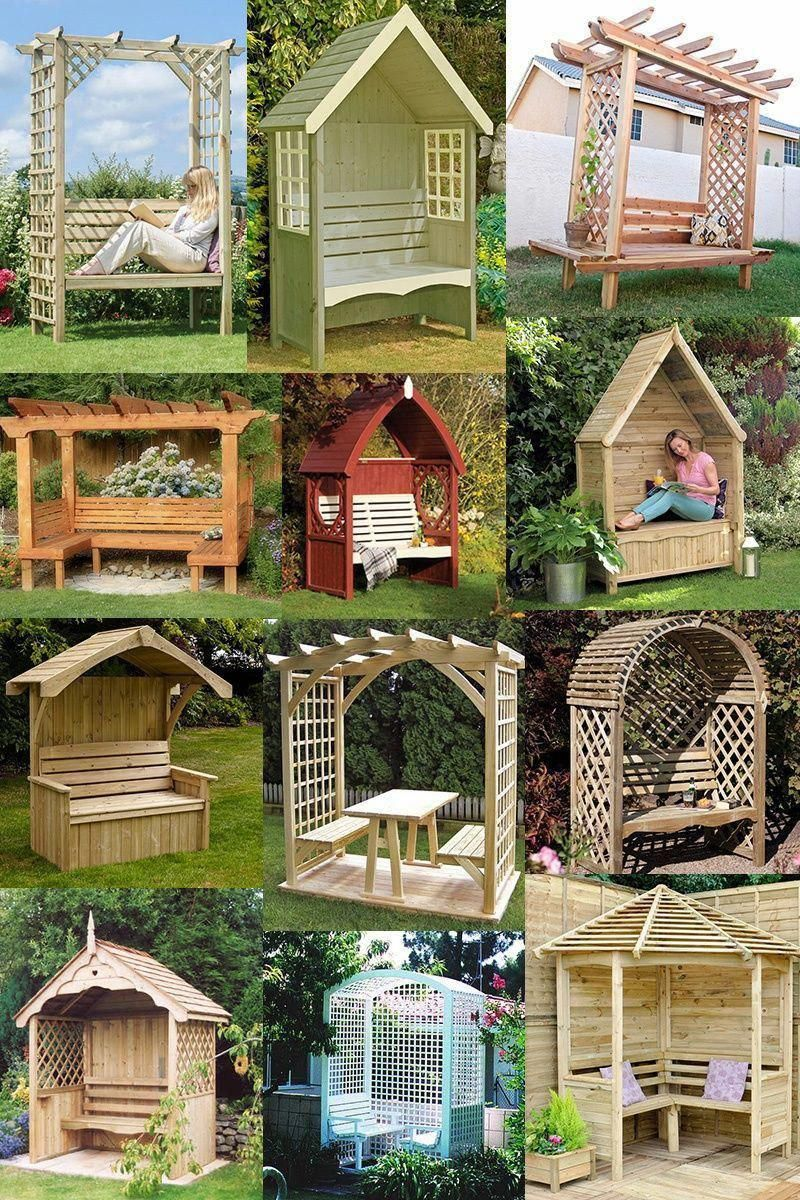 Build your own garden arbor bench from these DIY Kits or use