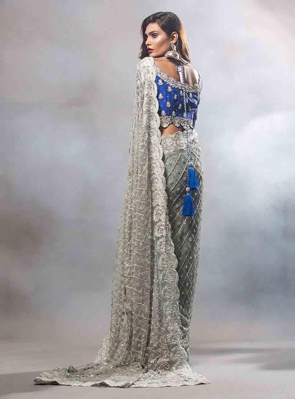 5924628c86 Blue and grey Pakistani bridal wedding saree latest Pakistani saree designs  2017