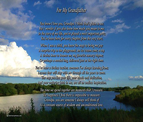 For My Grandfather - 8x10 Poem Print (unframed)