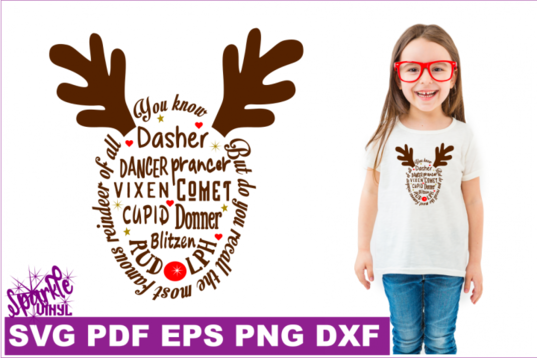 Reindeer Names SVG DXF PDF EPS Christmas svg By Sparkle
