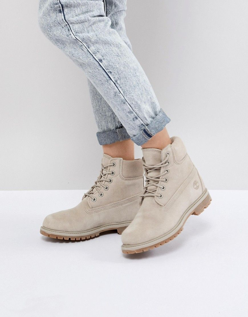 68d789875c2f2 TIMBERLAND 6 INCH PREMIUM TAUPE SUEDE FLAT BOOTS - GRAY.  timberland  shoes