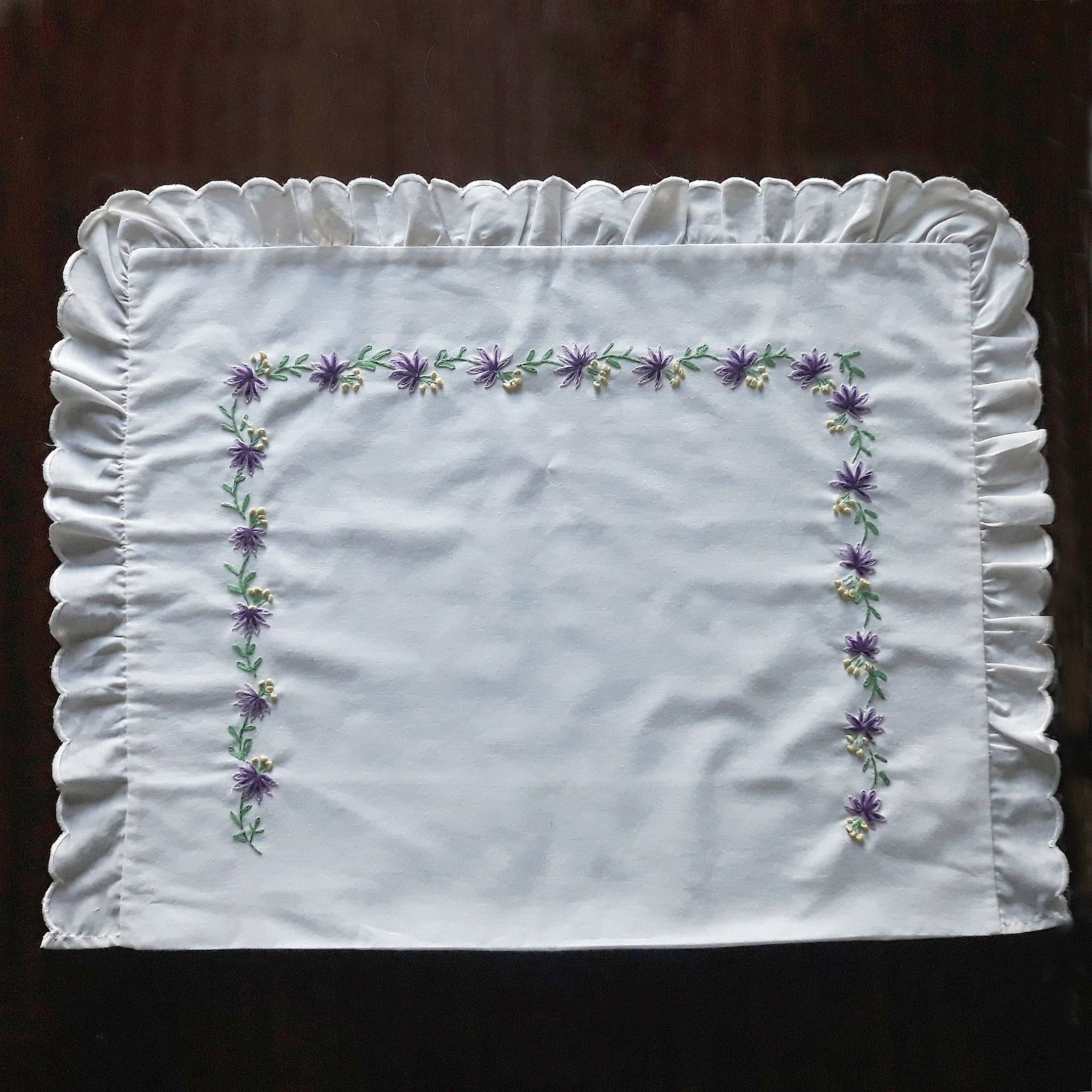 White embroidered pillowcase with violet flowers, Vintage cushion cover, European pillowsham, Narrow floral pattern, Unique gift idea