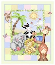 jungle quilt panel | Patchwork Bazooples Jungle Animal Cot Quilt ... : cot quilt panels - Adamdwight.com
