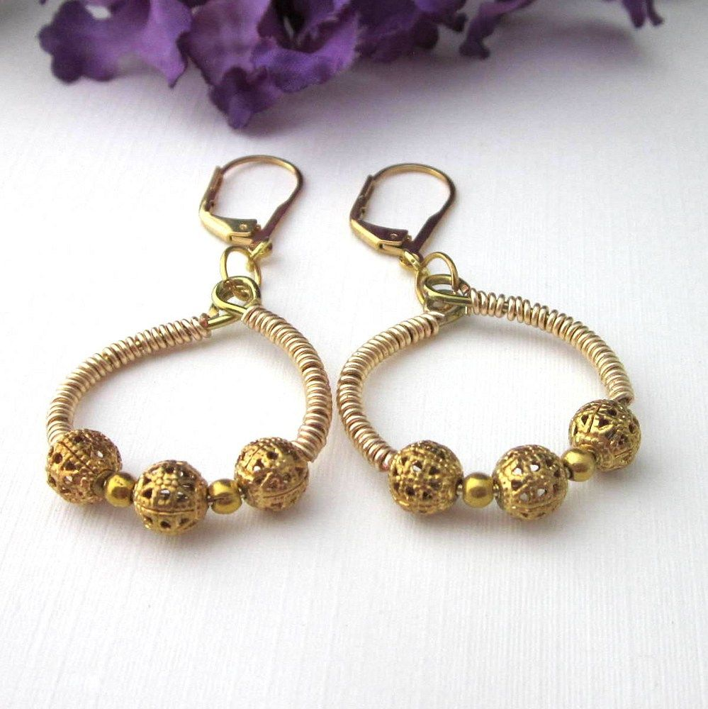 Gold Wire Wrapped Hoop Earrings With Filigree Beads Leverback | Gold ...