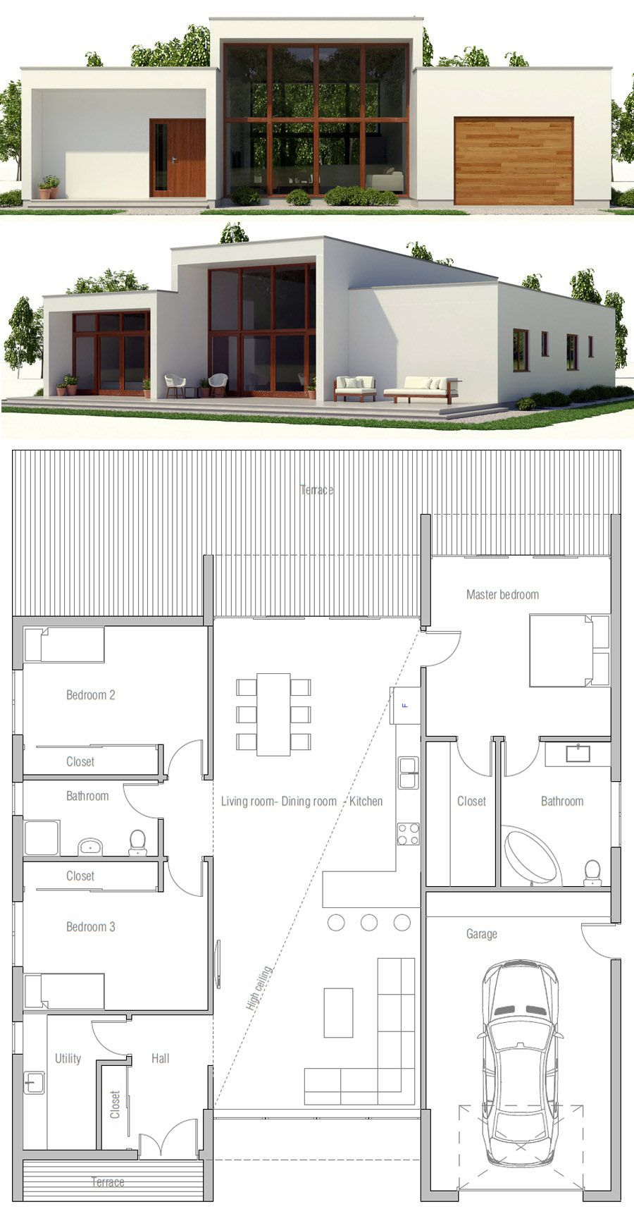 House Plan Ch393 Minimalist House Design Modern Minimalist House House Plans
